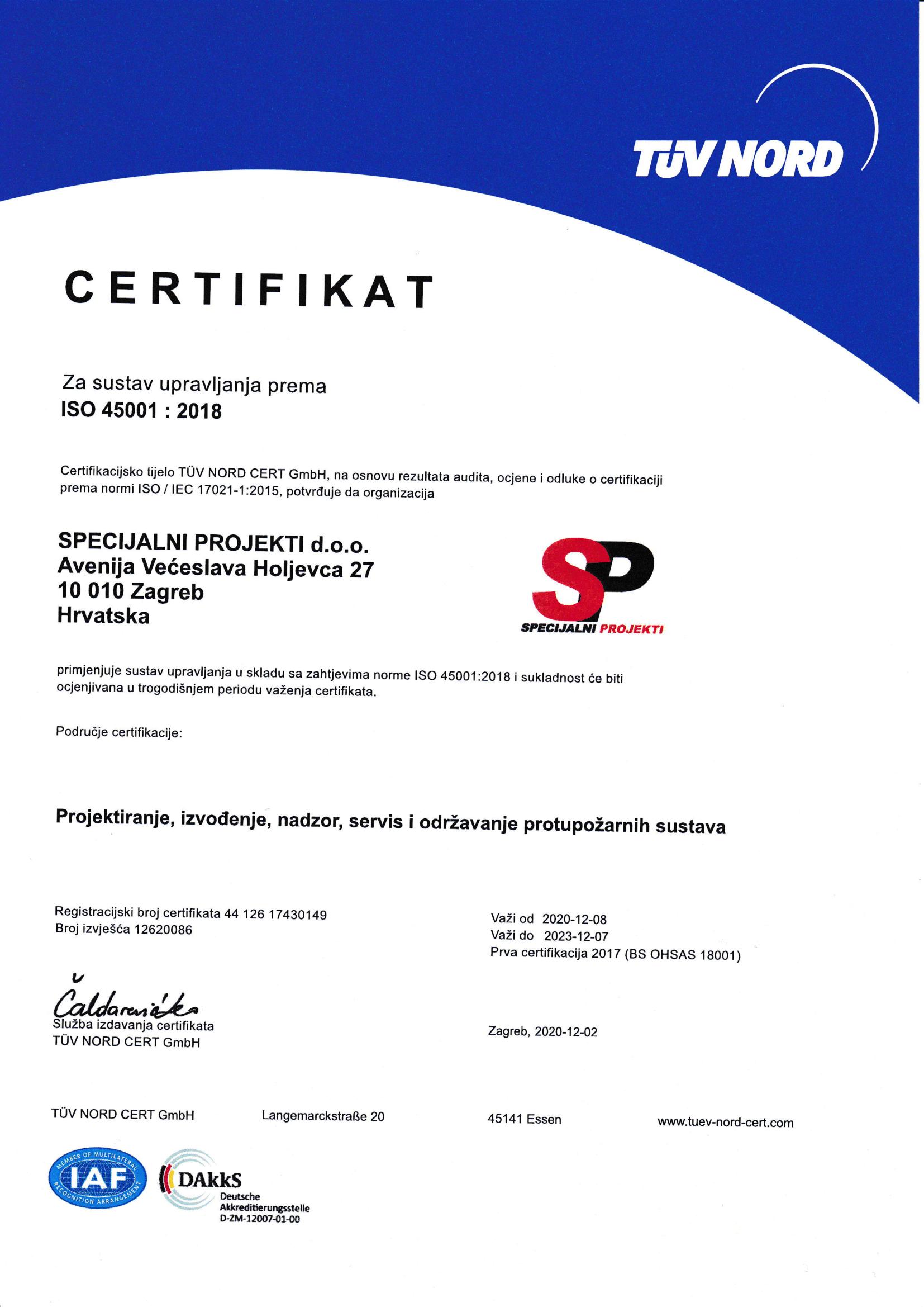2020 TUV CROATIA certifikat ISO 45001 hrv-1